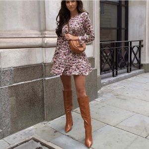 NWT ZARA Satin Effect Floral Print Dress L